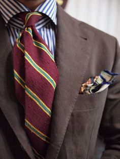 shibumi Tie & pocket square  bespoke suit by D.i Tailor