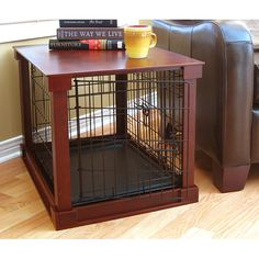 Indoor Designer Cherry Wood Dog Kennel and Crate, Organic Pet World Dog Housing