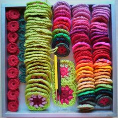 Most  kids would love playing with brightly coloured crocheted bits... or you could make an awesome matching game,