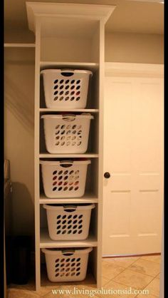 Perfect organizer project to free up floor space in laundry room!