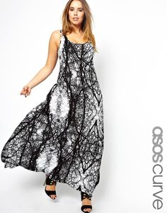 ASOS CURVE Maxi Dress In Spooky Tree Print
