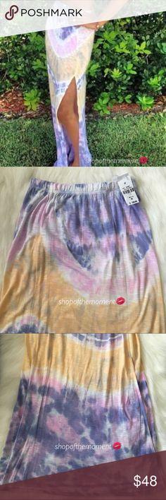 🌸 Emma & Sam Tie Dye Long Slit Maxi Skirt Brand New with Tags Directly From LF Stores   Long maxi skirt in a gorgeous allover pastel tie dye print is perfectly on trend for all seasons. Long side slit shows a lot of leg. Pair it with your shortest crop tops for summer. Add knee high vegan leather boots for winter. Your new go to!   The dirty deets: Long side slit  Elasticated waistband Finished hems  🌸🌸🌸🌸🌸🌸🌸🌸🌸🌸🌸🌸  ✗ Drama ✗ Trades ⚡️Fast Shipper ☆☆☆☆☆ 5 star seller  💋 Smooches…