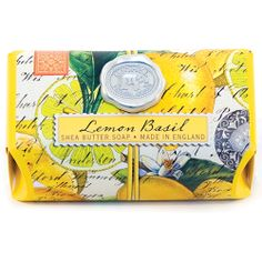 Lemon Basil Large Soap Bar  Scent: Fresh lemon and basil  Ingredients: pure vegetable palm oil, glycerin and rich moisturising shea butter.  Triple-milled to distribute colour and fragrance evenly and to make the soap silky smooth and long lasting.