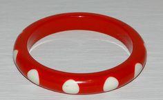 Red White Polka Dots Lucite Bangle Bracelet by TreasuredGlitz