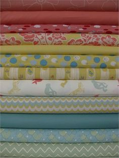 Teal, Lime, and Coral Fat Quarters