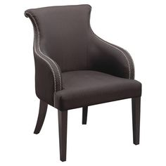 Solid wood upholstered accent chair in dark eggplant with a curving silhouette and nailhead trim.     Product: ChairCons...