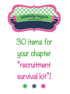 build a sorority survival kit to help your chapter through any rush emergency! <3 BLOG LINK: http://sororitysugar.tumblr.com/post/40289306005/hello-your-blog-is-so-great-im-putting-together-a