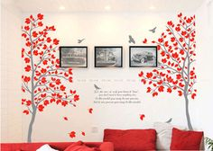 Couple Tree (Set of two) Nursery Wall Decal Wall Sticker - Red Medium
