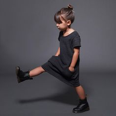"""A favorite this season  The perfect winter staple for your little ladies! Our comfiest fleece dress with pockets, comes in black and light grey ☁️…"""
