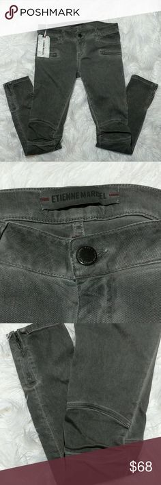 """NWT Etienne Marcel Moto Skinny Jeans NWT slightly distressed gray skinnies with ankle zip detail, front pockets with 2 zipper pockets below, articulated knees, waist 16.25"""" across, rise 8"""", 30"""" inseam Etienne Marcel Jeans Skinny"""