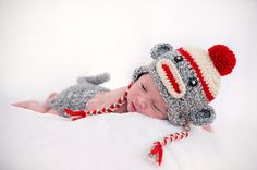 Baby Sock Monkey  Hat  and Diaper Cover by PreciousMomentsProps, $40.00