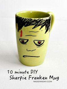 DIY Frankenstein Sharpie Mug, easy DIY, Franken mug Halloween sharpie craft, kids craft, teen craft, Halloween gift bag treat, Halloween coffee mug, green..