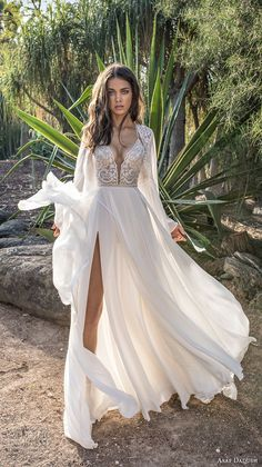 asaf dadush 2018 bridal long sleeves deep plunging sweetheart neckline heavily embellished bodice high slit skirt soft a  line wedding dress covered lace back sweep train (4) mv -- Asaf Dadush 2018 Wedding Dresses