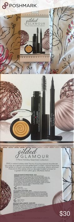 NWT Laura Geller Gilded Honey Gilded Glamour Set NWT Laura Geller Gilded Glamour 3 Piece Holiday Essentials Collection. Includes the very popular Gilded Honey Baked Gelato Swirl Illuminator (.07 oz), a full size mascara, and a full size liquid eyeliner both in black. Sephora Makeup