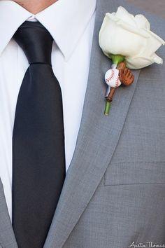 Fun Groom's boutonniere using baseball embellishments for a true baseball fan by House of Flowers Bakersfield, Ca.
