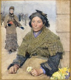 FLORA, THE GYPSY FLOWER SELLER By George Clausen