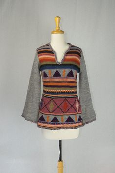 44c8734ece Fabulous Vintage 1970s boho hippie sweater with bell sleeves by Arpeja. Too  cute for words