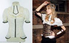 RQ-BL-Bluse-Kragen-Jabot-Steampunk-Blouse-Gothic-Pirates-Dirndl-Shirt-Weiss-SP012