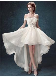 オフショルダー花びら飾りの綺麗目二次会ドレス パーティードレス