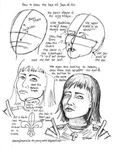How to Draw Worksheets for The Young Artist: How To Draw The Face Of Joan Of Arc, (Jeanne d'Arc) Worksheet