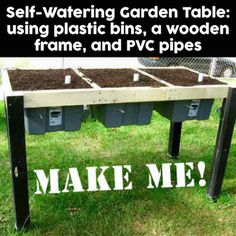 Make a self-watering garden table (also known as a salad garden) using these…