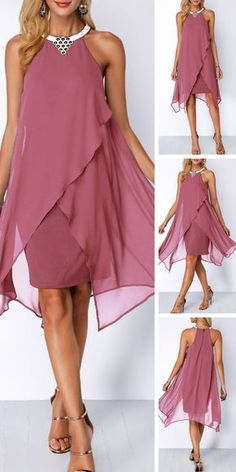 Embellished Neck Asymmetric Hem Chiffon Overlay Dress - Valentine's Day isn't all about the lovebirds -- treat yourself on this special day and buy yourself some Valentine's inspired goodies! Who can pass up these Valentine's Day Gifts For Yourself! Mob Dresses, Women's Fashion Dresses, Dresses Online, Fashion Clothes, Fashion Fashion, Outfits Dress, Dresses 2016, Fashion Hacks, Diy Dress