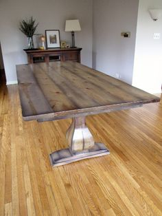 Belly Pedestal Table Featuring An Upgraded Hickory Table Top, Distress  Level Custom Driftwood Finish