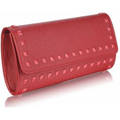 Burgundy studded clutch bag, the more basic of clutches for those of you who prefer a little less sparkle. handbagandheel.com