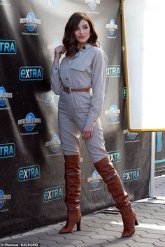 Olivia Culpo highlights her incredible figure in classic beige jumpsuit of her own design Olivia Culpo, Celebrity Boots, Sexy Stiefel, Thigh High Boots Heels, High Leather Boots, Sexy Boots, Tall Boots, Sexy Older Women, Hollywood Studios