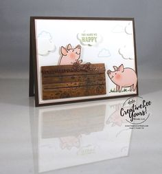 Happy Little Piggy by Wendy Lee, Stampin Up, #creativeleeyours, creatively yours, stamping, rubber stamps, hand made card, this little piggy stamp set, wood words stamp set,wood crate framelits, up & away thinlits, June FMN class