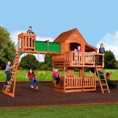 Wooden Swing Set Backyard Discovery Woodridge II All Cedar Playset Outdoor New Backyard Swings, Backyard Playground, Big Backyard, Playground Kids, Backyard Ideas, Cedar Swing Sets, Wooden Swing Set Plans, Best Swing Sets, Build A Playhouse