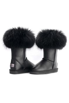 Fox Hair Embellished Metallic Snow Boots OASAP.com $109