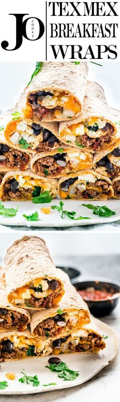 These Tex Mex Breakfast Wraps are perfect to prep over the weekend and have breakfast for the whole week. They're loaded with beef, hash brown potatoes, black beans, eggs, lots of cheese and Tex Mex flavors!
