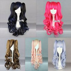 Long Ondulé Noire Rose Blabnche Cosplay Perruque Anime Cheveux Wig + 2 Chevals