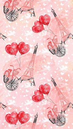 Love Pink Wallpaper, Paris Wallpaper, Flower Background Wallpaper, Heart Wallpaper, Flower Backgrounds, Cool Wallpaper, Iphone Wallpaper, Phone Backgrounds, Elegant Birthday Party