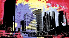 Pop City 12 by Melissa Smith – Urban Art District. | Paint splatters and textures combine with urban scenes to create modern and interesting pieces of art.  Hang as a stand-alone print or order a couple and display as a stylish grouping.  Either way, your guests will fall in love with your artistic insight.  SHARE if you ♥ it!
