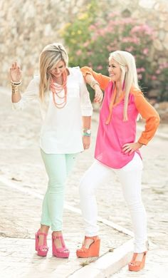 Mint color pants and baggy white shirt