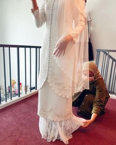 """SETH&LUNA on Instagram: """"First fitting for future #pengantinsethandluna before lockdown. As for the second fitting is potponed for another two more weeks or untill…"""" Hijab Dress, Two By Two, Kimono Top, Cover Up, Future, Instagram, Tops, Dresses, Women"""
