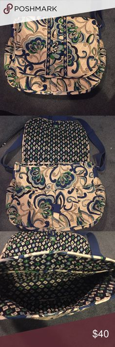Vera Bradley messenger crossbody Mediterranean white messenger cross body by Vera Bradley. Only used a couple times great condition! Adjustable strap, large zipper pocket on back. Four pockets on outside two on inside. Great for traveling with laptop or for college girls! Vera Bradley Bags Laptop Bags