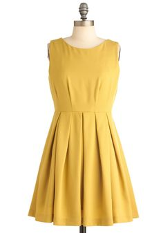 $18.99  Cue the Compliments Dress in Dandelion - Short, Yellow, Solid, Work, Casual, 60s, A-line, Sleeveless, Spring