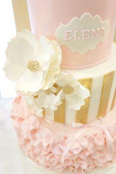 Cake Detail from a Pink & Gold Princess Party via Kara's Party Ideas | KarasPartyIdeas.com (16)