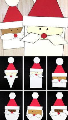 Shape Santa craft for kids to make this Christmas: oval, circle, square, rectangle, triangle, hexagon and rhombus. #shapesantacraft #santashape @shapesanta #christmasshapes #paperchristmascraft #christmascraftsforkids #christmascrafts #christmascraftforpreschool Christmas Worksheets Kindergarten, Christmas Crafts For Toddlers, Kindergarten Crafts, Winter Crafts For Kids, Toddler Crafts, Preschool Crafts, Kids Christmas, Cool Paper Crafts, Book Crafts