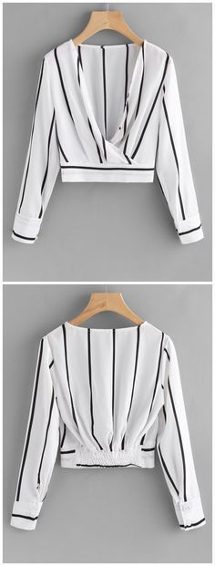 Up to 80% OFF! Crossed Front Stripes Blouse. #Zaful #Tops zaful,zaful outfits,tops,womens tops,long sleeve tops,blouse,blouse outfit,off shoulder blouse,embroidered blouse,floral blouse,shirts,T-shirt,Tees,tank tops,crop top,outfits,women fashion,summer outfits,spring outfits,spring fashion,girl clothing,outfit ideas,clothes,clothing,casual,casual outfits,2018 fashion,2018 trends,christmas2017,christmas outfits,xmas,New Year Eve, New Year 2017.@zaful Extra 10% OFF Code:ZF2017