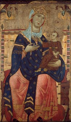 """Painting by Luccan, ca 1250-60, """"Enthroned Madonna with Child"""", Canvas mounted on poplar. (city of #Lucca, Italian) #Middle_Age"""