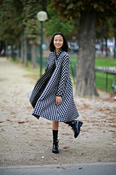 great gingham. #XiaoWenJu #offduty in Paris.