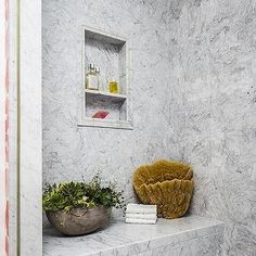 Gray Marble Tile Shower Niche Over Gray Marble Shower Bench