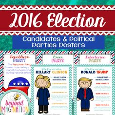 These posters are perfect for familiarizing your elementary grade learners with the 2016 U.S. electoral candidates Hillary Clinton, Gary Johnson, Jill Stein, and Donald Trump. Find out which candidate belongs to what party, as well as finding out what the Democratic Party, Green Party, Libertarian Party, and Republican Party all stand for in their beliefs. Presidential Election 2016.