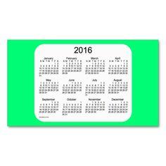 2016 Spring Green Calendar by Janz Business Card