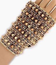 Metal Spike Hand Armor Warrior Gauntlet Body Jewelry Gold Chain Link Bracelet