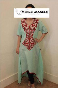 Mingle mangle Clothing Patterns, Dress Patterns, Applique Designs, Embroidery Designs, Designs For Dresses, Fashion Art, Womens Fashion, Indian Suits, Applique Dress